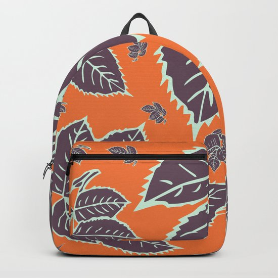 HAPPY LEAVES ON ORANGE (abstract flowers tropical) Backpack