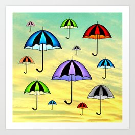 Colorful umbrellas flying in the sky Art Print