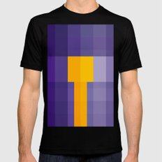 Purple and Yellow square pattern abstract geometric art MEDIUM Black Mens Fitted Tee