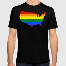 United States Gay Pride Flag (LGBT)  Black Mens Fitted Tee X-LARGE
