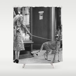 Woman with Cheetah, Phyllis Gordon, with her pet Kenyan cheetah, Paris, France black and white photo Shower Curtain