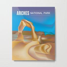 Arches National Park, Utah - Skyline Illustration by Loose Petals Metal Print