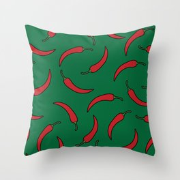 Red chili pepper in green Throw Pillow