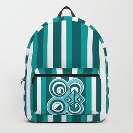 Striped Blue White and Teal Falling Eccentric Circles Abstract Art Backpack