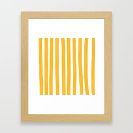 Sunny Yellow Paint Stripes Framed Art Print