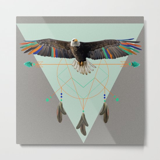 The indian eagle is watching over Po's dreamcatcher Metal Print