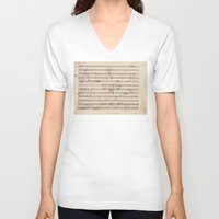 mozart V-neck T-shirts featuring Mozart by Le petit Archiviste
