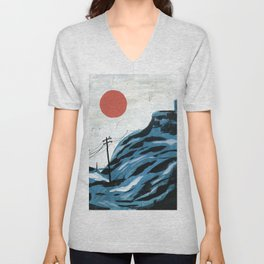 Watching the Impending Sunset Unisex V-Neck