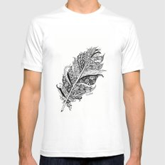 Feather Black and White 3 feathers Bird birds Zen White MEDIUM Mens Fitted Tee