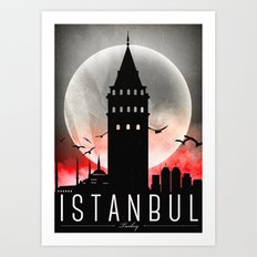 Black-White Galata Tower Istanbul Art Print