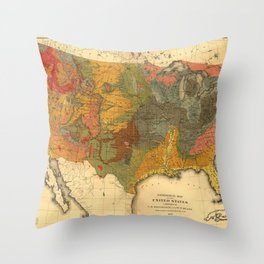 Vintage United States Geological Map Throw Pillow