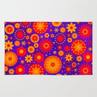 hippy Area & Throw Rugs featuring Turquoise Hippy Flower Pattern by Hippy Gift Shop