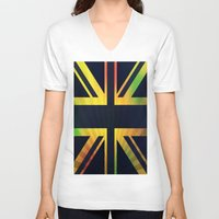 british flag V-neck T-shirts featuring RASTA BRITISH FLAG by shannon's art space