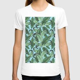 Leaves watercolor n.1 in pale blue T-shirt