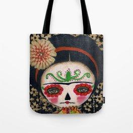 Frida The Catrina And The Skull - Dia De Los Muertos Mixed Media Art Tote Bag