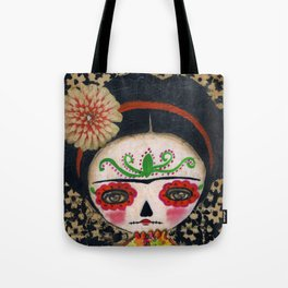Frida The Catrina And The Skull - Dia De Los Muertos Mixed Media Art Tote Bag