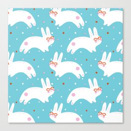 Happy Bunnies with Glasses Canvas Print