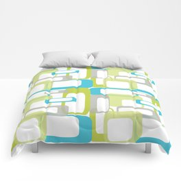 Mid-Century Modern Rectangle Design Blue Green and Gray Comforters