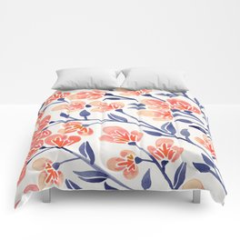 Cherry Blossoms – Peach & Navy Palette Comforters