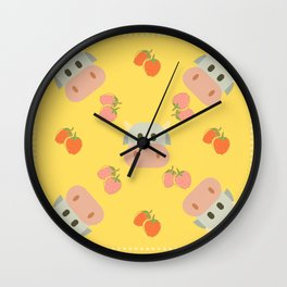 strawberry cow - yellow Wall Clock