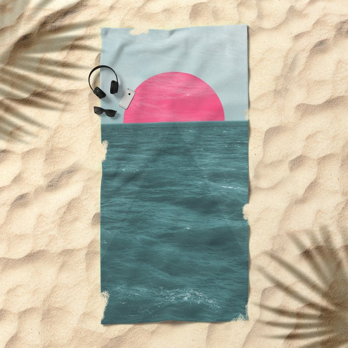 Magenta Sunset Beach Towel