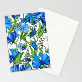 Fairytale Floral Pattern in Ocean Blue & Pearl White Stationery Cards