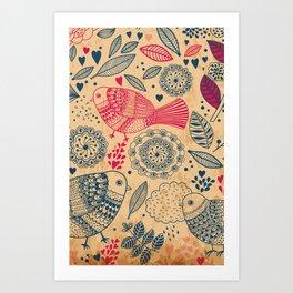 Vintage Flower and Birds Art Print