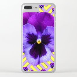 PURPLE PANSY  FLOWERS & YELLOW PATTERNS  GARDEN Clear iPhone Case