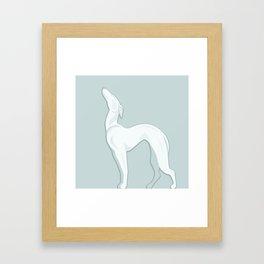 Big  White Ceramic Dog Framed Art Print