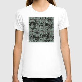 Silver Frost, Green and Black Ice Abstract Pattern T-shirt