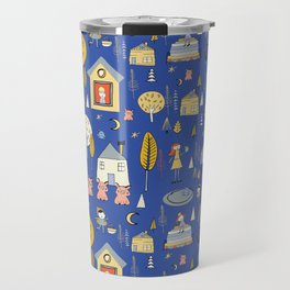 Wonderland Fairy Tale Blue Yellow Travel Mug