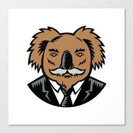 Koala With Moustache Woodcut Color Canvas Print