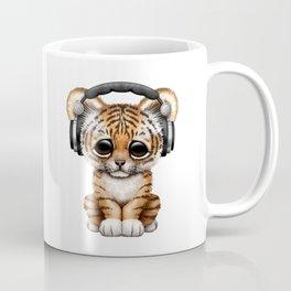 Cute Tiger Cub Dj Wearing Headphones on Blue Coffee Mug