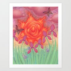 molten sun puce infused afternoon with irises Art Print