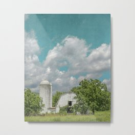 White Barn and Blue Sky Metal Print