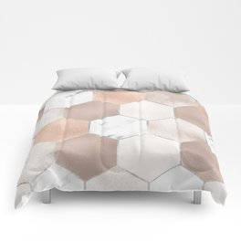 Rose pearl and marble hexagons Comforters