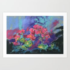 Geraniums, Geranium painting, pink geraniums, flower painting Art Print