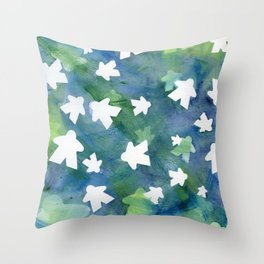 Meeples in Blue Throw Pillow