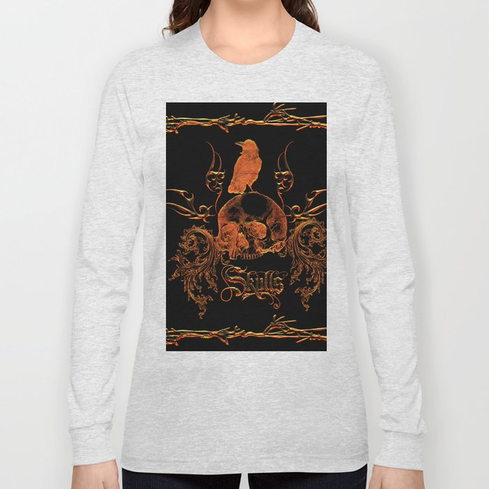 Skull with crow  Long Sleeve T-shirt