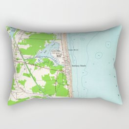 Vintage Map of Bethany Beach Delaware (1954) Rectangular Pillow