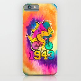 Bicycle acid 1943 on a tie dye background. iPhone Case