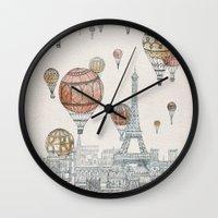 paris Wall Clocks featuring Voyages Over Paris by David Fleck