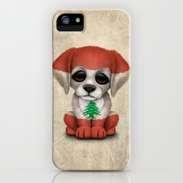 Cute Puppy Dog with flag of Lebanon iPhone Case