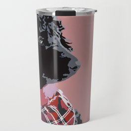 Black Standard Poodle in Pink Travel Mug