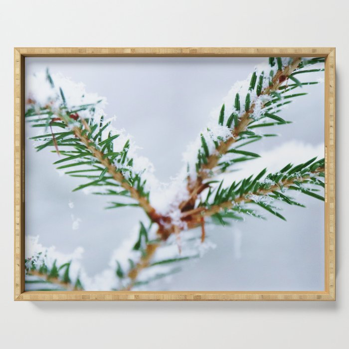 Spruce twig with snowflakes on blue Serving Tray