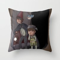 over the garden wall Throw Pillows featuring Over The Garden Wall by Dimension Bound