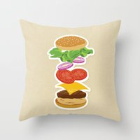 burger Throw Pillows featuring Burger by Daily Design
