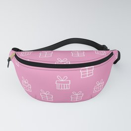 White Christmas gift box pattern on Hot Pink background Fanny Pack