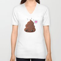 poop V-neck T-shirts featuring Poop Love by Whitney Lynn Art