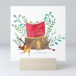Cats reading in the forest - Puss in Boots - Watercolor illustration Mini Art Print